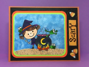 Pink Cat Studios, Halloween Digital Stamp, Adorable Witch