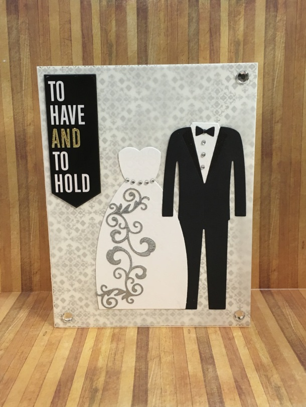 MFT Stamps Bride & Groom, handmade wedding card